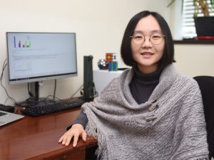 Nara Yoon, PhD in her office at Adelphi University.