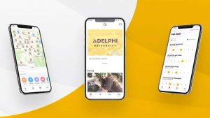 Three screen views of the Adelphi University student mobile app.