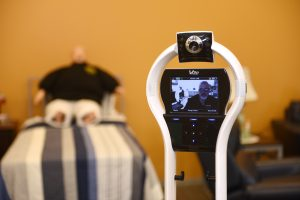 Telepresence robots like this one are used for remote monitoring in CESiL's home-care suite as well as in the growing home healthcare field. They enhance both nursing and healthcare informatics students' educational experience.